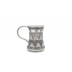 Bakır Bardak Üzümlü Kalaylı Dar Boğaz Gümüş Eskitme Renkli El İşçiliği Su Bardağı