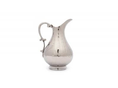 Bakır Sürahi Dövme Desenli Gümüş Renk El İşçiliği