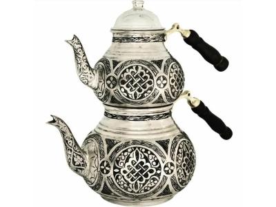Ağır İşlemeli Kalay Kaplama İnce Kalem İşleme Bakır Çaydanlık