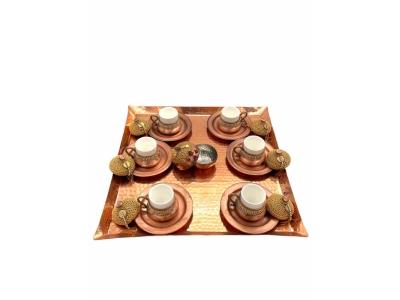 Kahve Takımı Bakır Doğal Altın Zincir Detaylı Kare Tepsi 6 Kişilik El İşi