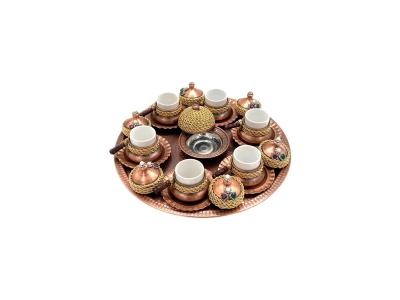Kahve Takımı Bakır Eskitme Altın Zincir Detaylı Kök Taş Süs 6 Kişilik El İşi