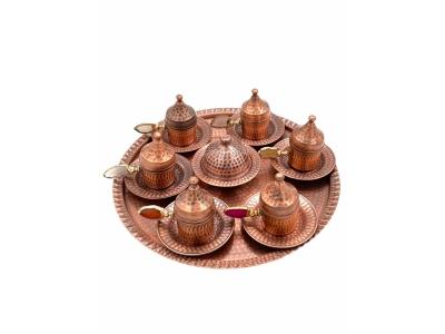 Kahve Takımı Tiryaki Model Kök Taş Kulplu 6 Kişilik